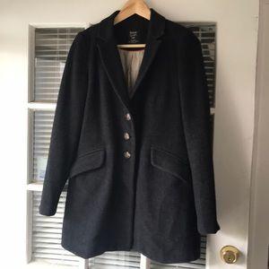 Zara Gray Wool Herringbone Pea Coat Jacket S Small